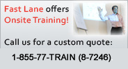 fast lane offers onsite training. call us for a custom quote: [phone](919) 674-3100[/phone]. 8am-6pm, eastern.